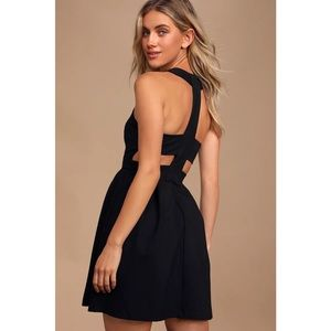 NWT Lulus Back Cutout and About Black Skater Dress